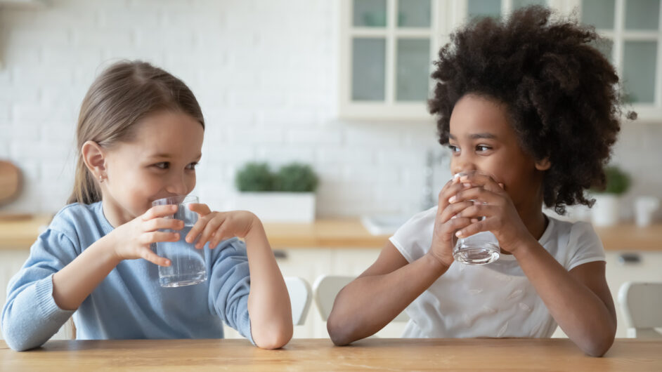 sisters drinking drink pure mineral water