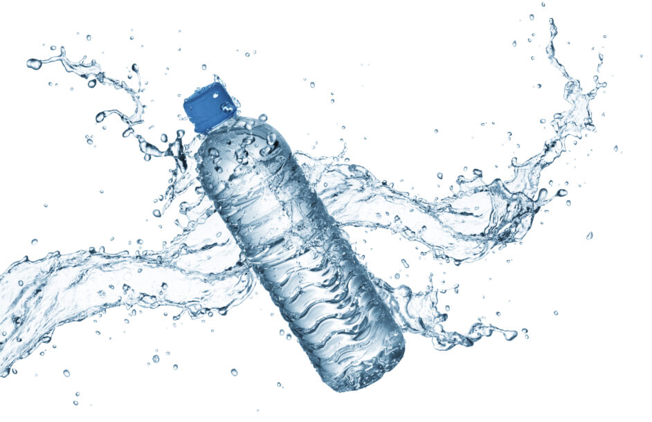 bottle of water with splash